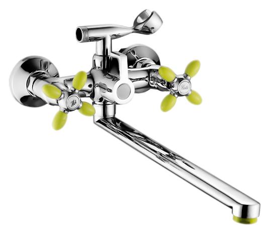 P2771-11 хром/зеленыйСмесители<br>Смеситель для ванны Potato P2771-11 с душевым гарнитуром. Длинный поворотный излив 400 мм. Латунные с керамическими пластинами кран-буксы, поворот 180 градусов. Длина шланга 1500 мм. Поворотный переключатель ванна/душ.<br>