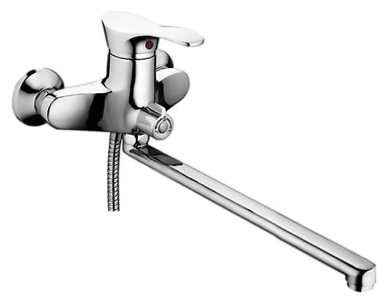 P2201 хромСмесители<br>Смеситель для ванны Potato P2201 с душевым гарнитуром. Длинный поворотный излив 400 мм. Керамический картридж 40 мм. Длина шланга 1500 мм. Переключатель ванна/душ.<br>