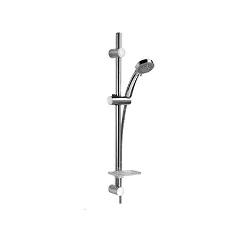 50CR124/CBL ХромДушевые гарнитуры<br>Душевая стойка с лейкой, шлангом, мыльницей. Регулируемый крепеж 500-670 мм,D25, 5 видов струй.<br>