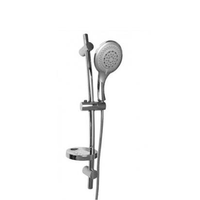 50CR124/HBL ХромДушевые гарнитуры<br>Душевая стойка с лейкой, шлангом, мыльницей. Система предотвращения образования известкового налета.<br>