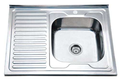 80x60 P66080L хром глянцевый, чаша слеваКухонные мойки<br>Кухонная мойка накладная Potato 80x60 P66080L с одной чашей слева и с крылом справа, изготовлена из нержавеющей стали, толщиной 0,6 мм, с глянцевой поверхностью. Цена указана за чашу мойки. Все остальное приобретается дополнительно.<br>