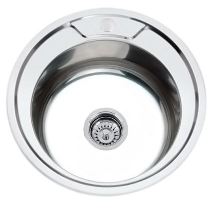 49x49 P84949 хром глянцевыйКухонные мойки<br>Кухонная мойка накладная Potato 49x49 P84949 круглая, с одной чашей, изготовлена из нержавеющей стали, толщиной 0,8 мм, с глянцевой поверхностью. Цена указана за чашу мойки. Все остальное приобретается дополнительно.<br>