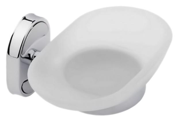 P2902 хром/белаяАксессуары для ванной<br>Настенная мыльница Potato P2902 из хромированного металла и матового белого стекла. В комплекте: комплект креплений.<br>