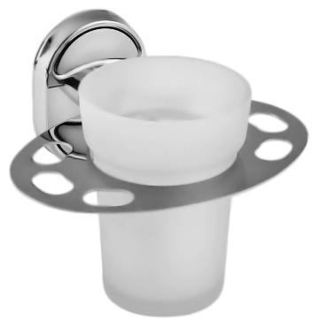 P2906-1 хром/белыйАксессуары для ванной<br>Настенный держатель зубных щеток из хромированного металла со стаканом из белого матового стекла Potato P2906-1. Цена указана за держатель зубных щеток, стакан и комплект креплений. Все остальное приобретается дополнительно.<br>
