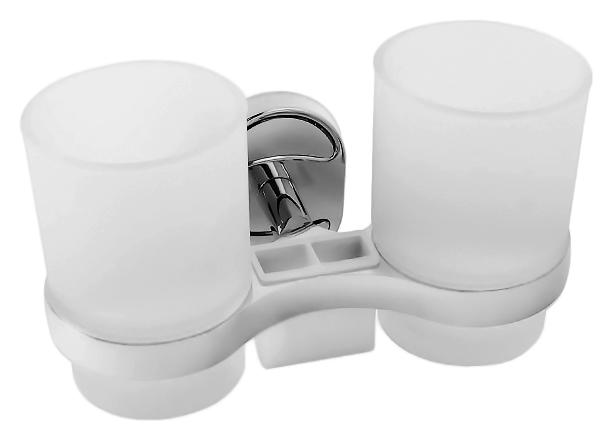 P2908 хром/белыйАксессуары для ванной<br>Настенный держатель зубных щеток из хромированного металла с двумя стаканами из белого матового стекла Potato P2908. Цена указана за держатель зубных щеток, два стакана и комплект креплений. Все остальное приобретается дополнительно.<br>