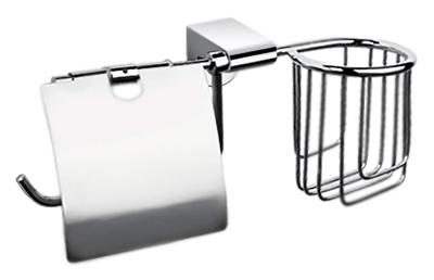 P2303-1 хромАксессуары для ванной<br>Настенный держатель освежителя воздуха и туалетной бумаги с крышкой Potato P2303-1 из хромированного металла.<br>