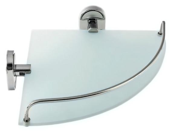 P2921-1 хром/матовое стеклоАксессуары для ванной<br>Угловая полка Potato P2921-1 с ограничителем, из матового стекла и хромированного металла. Цена указана за угловую полку, держатели, ограничитель и комплект креплений. Все остальное приобретается дополнительно.<br>