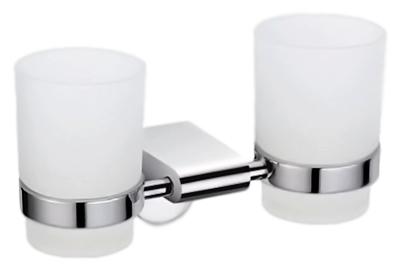 P2308 хром/белыйАксессуары для ванной<br>Два стакана Potato P2308 настенного монтажа, из белого матового стекла с держателем из хромированного металла.<br>