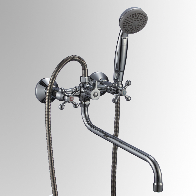 СЛ-ДВ-А31 ХромСмесители<br>Смеситель Славен для ванны с длинным поворотным изливом 350мм, переключатель флажковый, с аксессуарами, хром. Шланг душевой , L=1500 мм. Лейка душевая однофункциональная.<br>