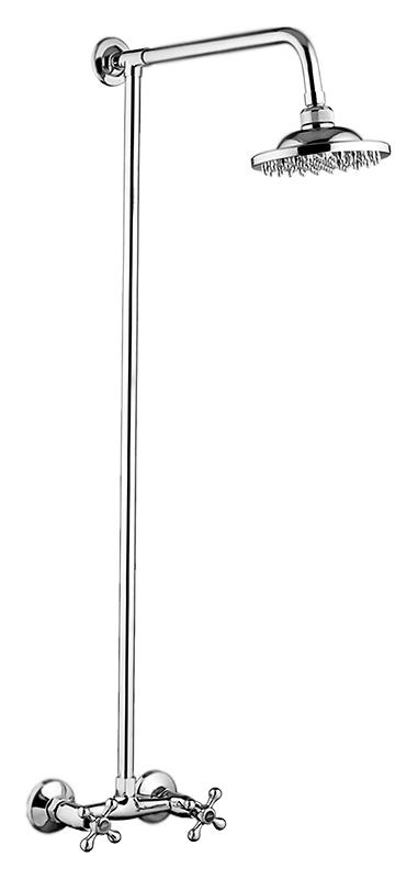 P3565 хромДушевые системы<br>Душевой комплект Potato P3565. Подвод воды G1/2. Двухвентильный смеситель, латунные с керамическими пластинами кран-буксы, поворот 180 градусов. Верхний душ с одним режимом струи, диаметром 200 мм. Цена указана за смеситель, штангу, верхний душ и комплект крепления. Все остальное приобретается дополнительно.<br>