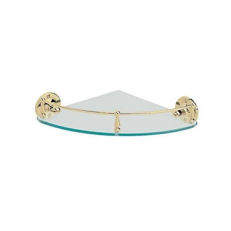 AHBR15 ЗолотоАксессуары для ванной<br>Угловая прозрачная полочка от элитного британского бренда Heritage гармонично впишется в современный или экстравагантный интерьер ванной комнаты. Модель выполнена из прочного, качественного стекла и высококлассной латуни.<br>
