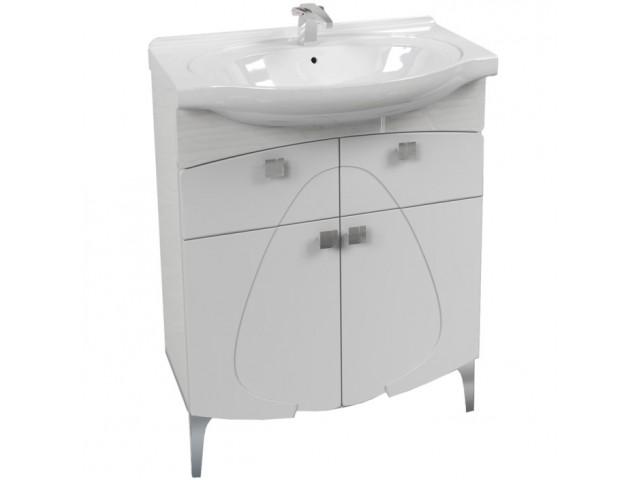 Олива 70 БелаяМебель для ванной<br>Напольная тумба  Аквалайф Олива 70 под раковину Erica 70. Тумба с двумя ящиками на ножках. Ножки и ручки цвета хром.  В стоимость  входит только тумба, раковина, зеркальный шкаф и пенал приобретаются отдельно.<br>
