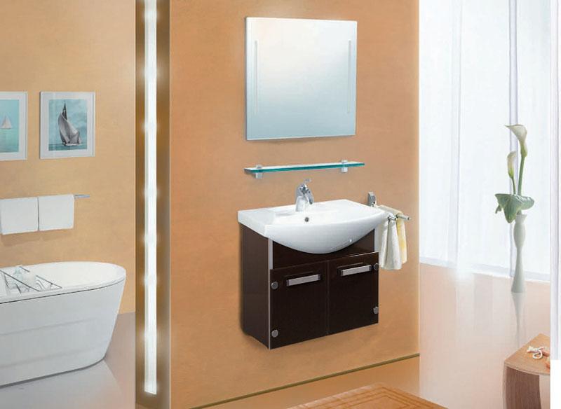 VN111 подвесная КоричневыйМебель для ванной<br>В стоимость входит тумба с раковиной Verona ПТ 55. Тумба подвесная с распашными дверцами снабженными амортизаторами и стеклянными полками внутри, раковина Vidima из санфаянса. Зеркало приобретается отдельно.<br>
