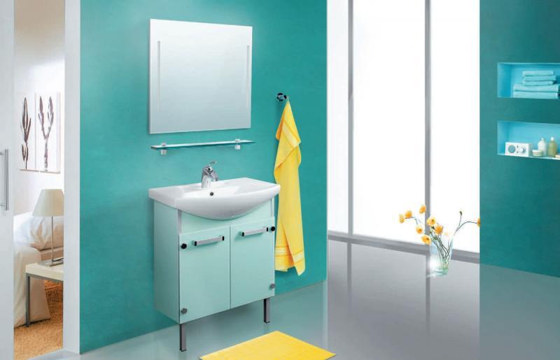VN211 БледнозеленыйМебель для ванной<br>В стоимость входит тумба с раковиной Verona НТ 55. Тумба напольная с распашными дверцами снабженными амортизаторами и стеклянными полками внутри, раковина Vidima из санфаянса. Зеркало приобретается отдельно.<br>