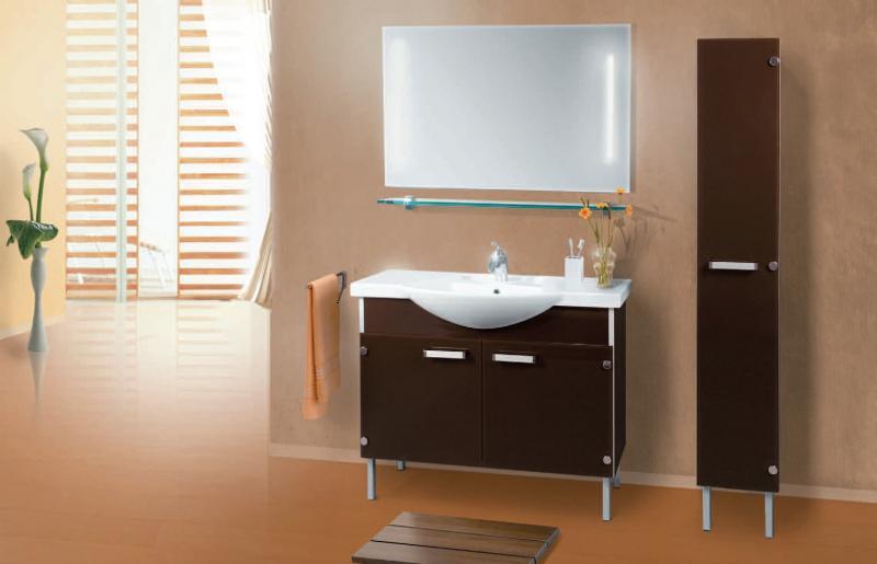 VN216 БежевыйМебель для ванной<br>В стоимость входит тумба с раковиной Verona НТ 110н. Тумба напольная с распашными дверцами снабженными амортизаторами и стеклянными полками внутри, раковина Vidima из санфаянса. Зеркало приобретается отдельно.<br>