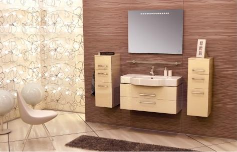 Area AR103 подвесная БежевыйМебель для ванной<br>В стоимость входит тумба с раковиной Verona AR103. Тумба подвесная с двумя выдвижными ящиками с механизмом плавного закрытия, раковина из санфаянса. Зеркало приобретается отдельно.<br>