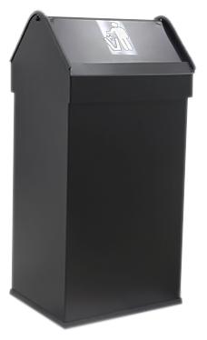 41 14118.2 Bl чернаяАксессуары для общественных санузлов<br>Урна для мусора Nofer 41 14118.2 Bl, объемом 41 литр. Герметичная крышка push-open, удобно открывается нажатием и возвращается в исходное положение. Урна выполнена из металла, окрашенного в черный цвет, с безопасными краями из пластика. Подходит для учреждений и офисных зданий. Высота 650 мм. Цена указана за урну для мусора. Все остальное приобретается дополнительно.<br>
