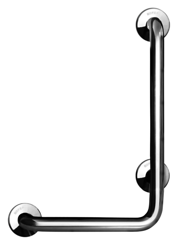 15159.B хром, глянцевыйАксессуары для общественных санузлов<br>Поручень угловой Nofer 15159.B левосторонний, под углом 90 градусов, имеет три точки крепления. Подходит для поддержки в туалетах, биде, душевых кабинах и ваннах. Предназначен для туалетов и ванных комнат, приспособленных для людей с ограниченными возможностями. Длинное плечо 700 мм, короткое плечо 400 мм, диаметр трубы 32 мм. Долговечен и устойчив к коррозии, легко очищается и прост в монтаже. Цена указана за поручень и комплект креплений. Все остальное приобретается дополнительно.<br>