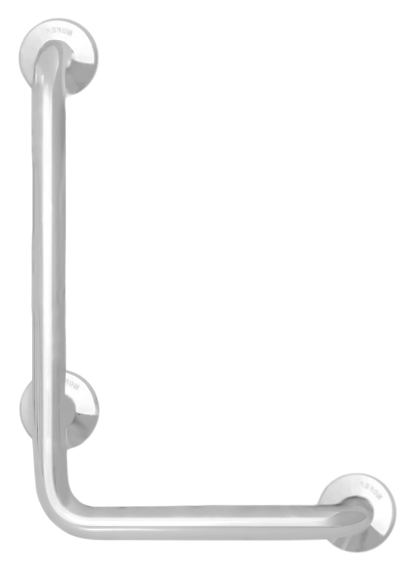 15158.W белыйАксессуары для общественных санузлов<br>Поручень угловой Nofer 15158.W правосторонний, под углом 90 градусов, имеет три точки крепления. Подходит для поддержки в туалетах, биде, душевых кабинах и ваннах. Предназначен для туалетов и ванных комнат, приспособленных для людей с ограниченными возможностями. Длинное плечо 700 мм, короткое плечо 400 мм, диаметр трубы 32 мм. Долговечен и устойчив к коррозии, легко очищается и прост в монтаже. Цена указана за поручень и комплект креплений. Все остальное приобретается дополнительно.<br>