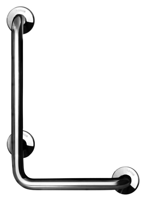 15158.B хром, глянцевыйАксессуары для общественных санузлов<br>Поручень угловой Nofer 15158.B правосторонний, под углом 90 градусов, имеет три точки крепления. Подходит для поддержки в туалетах, биде, душевых кабинах и ваннах. Предназначен для туалетов и ванных комнат, приспособленных для людей с ограниченными возможностями. Длинное плечо 700 мм, короткое плечо 400 мм, диаметр трубы 32 мм. Долговечен и устойчив к коррозии, легко очищается и прост в монтаже. Цена указана за поручень и комплект креплений. Все остальное приобретается дополнительно.<br>