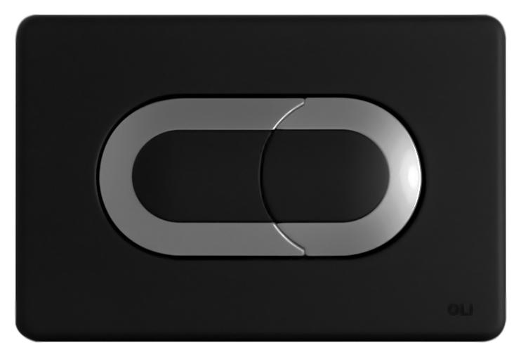 Salina 640099 черная/матовый хромИнсталляции<br>Кнопка двойного смыва Oli Salina 640099 пневматическая, из ABS пластика, черная с покрытием Soft-touch (мягкая на ощупь) с матовым хромом. Сила нажатия &lt;20N. Подходит к инсталляциям с пневматикой: Oli Pneumatic Oli74 Plus, Oli Pneumatic Expert Evo, Oli Pneumatic Diamante Evo. Цена указана за кнопку смыва, крепежную раму и два фиксирующий винта. Все остальное приобретается дополнительно.<br>