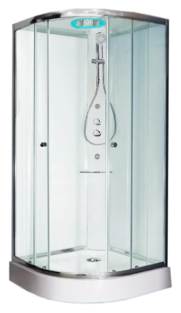 Archimede 90x90 TV000A1H5T00000 с гидромассажемДушевые кабины<br>Душевая кабина Glass Archimede 90x90 TV000A1H5T00000 с гидромассажем. Безопасное закаленное стекло раздвижных дверей, толщиной 6 мм. Закаленное стекло задних стенок, с эффектом белого покрытия, толщиной 5 мм. Душевая колонна из матового белого алюминия с защитным покрытием, с полочкой из прозрачного метакрилата. Термостатический смеситель и переключатель. Мультифункциональный гидромассаж. Ручной душ со штангой и держателем. Потолочная панель с верхним душем &amp;#216;300 мм, с антиизвестковым покрытием. Светодиодная подсветка с функцией хромотерапии. Плоский акриловый поддон, высотой 130 мм. Сифон &amp;#216;90 мм с донным клапаном.<br>