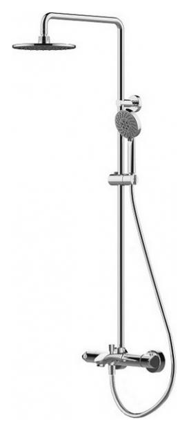 Waterfall F639114C-A-RUS ХромДушевые системы<br>Душевая система Bravat Waterfall F639114C-A-RUS с термостатическим смесителем для ванны. Термостатический картридж Vernet. Дивертер Hent. Аэратор Neoperl. Верхний душ: 22 см ABS-пластик хром. Ручной душ: 110 мм, 5 режимов. Шланг 1,5 м. PVC. Штанга: латунь, диаметр 22 мм.<br>