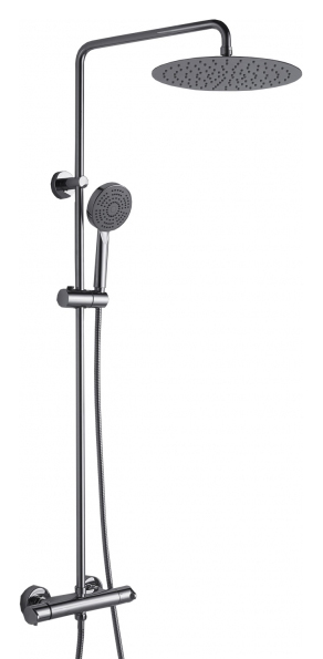 Waterfall F939114C-A-RUS ХромДушевые системы<br>Душевая система Bravat Waterfall F939114C-A-RUS с термостатическим смесителем для душа. Покрытие Хром. Термостатический картридж Vernet. Верхний душ: 22 см ABS-пластик хром. Ручной душ: 110 мм, 5 режимов. Шланг 1,5 м. PVC. Штанга: латунь, диаметр 22 мм.<br>