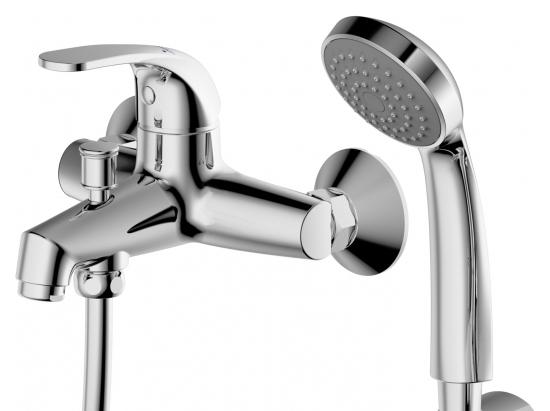 Fit F6135188CP-B-RUS ХромСмесители<br>Смеситель для ванны Bravat Fit F6135188CP-B-RUS. Корпус латунный. Ручка цинковая. Керамический картридж Sedal 35 мм. Кнопочный переключатель. Аэратор Neoperl. 1-функциональная душевая лейка из ABS-пластика. Шланг 1500 мм PVC. Поток воды: излив 20 л/мин, душ 12 л/мин при давлении 0.3 MPa.<br>