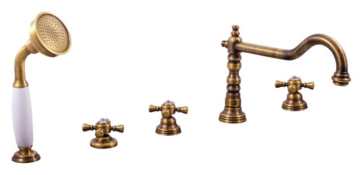 Classic264.5P ЗолотоСмесители<br>Смеситель на борт ванны Rav Slezak Classic264.5PZ с душевым гарнитуром, изготовлен из высококачественной латуни, которая исключает какую-либо коррозию. Латунные рукоятки c хрустальным камнем от чешского производителя Preciosa Bohemie Glass. Качественные керамические кран буксы, гарантируют долговечность и мягкий поток воды, производство Германия. Керамический переключатель душ/излив. Пластиковый аэратор, насыщает поток воды воздухом, что позволяет экономить её расход. Шланг металлический с двойной оплеткой, с пружиной, которая обеспечивает лёгкое возвращение шланга в держатель. Длина шланга 2000 мм. Латунная душевая лейка с керамической ручкой. В комплекте смеситель, шланг, душевая лейка и комплект крепления.<br>