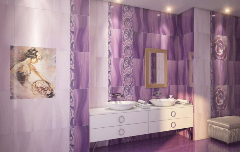 Керамическая плитка Gracia Ceramica Arabeski Purple decor 01 25х60 декор