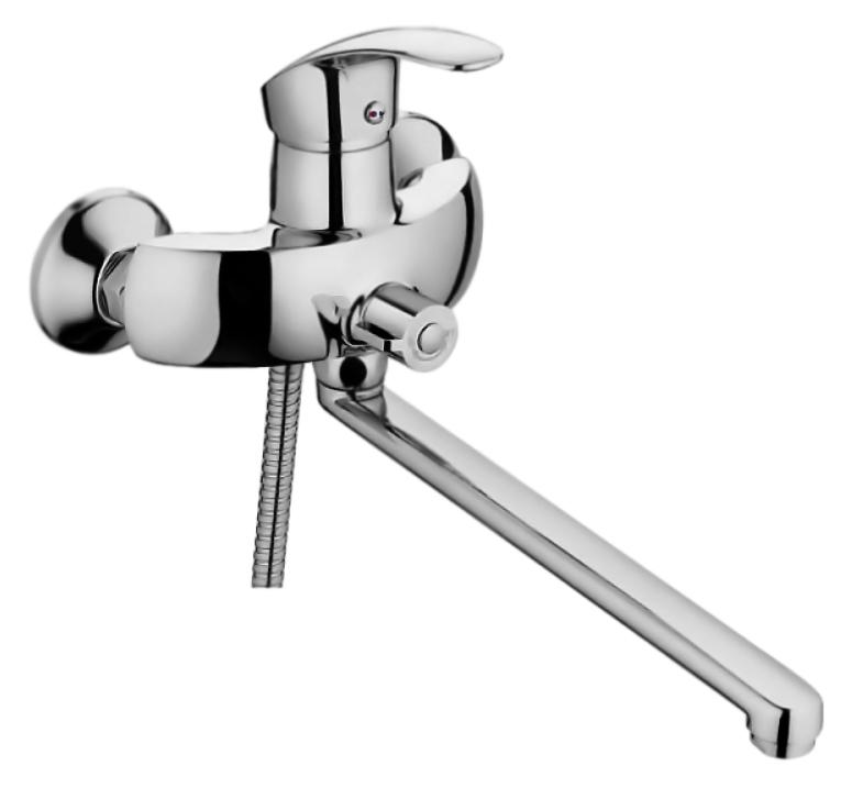 HB2221-k хромСмесители<br>Смеситель универсальный Haiba HB2221-k с аэратором, с душевым гарнитуром. Длинный поворотный излив, 360 градусов. Керамический картридж 40 мм. Длина шланга 1500 мм. Поворотный переключатель ванна/душ, 180 градусов. Цена указана за смеситель, отражатели, шланг, душевую лейку, настенный держатель для лейки и комплект крепления. Все остальное приобретается дополнительно.<br>
