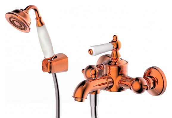 Art F675109Co-B МедьСмесители<br>Смеситель для ванны Bravat Art F675109Co-B. Корпус латунный. Ручка керамическая. Керамический картридж Kerox 35 мм. Кнопочный переключатель. Аэратор Neoperl. 1-функц. душевая лейка из ABS-пластика. Шланг 1500 мм PVC. Поток воды: излив 20 л/мин; душ 12 л/мин при давлении 0.3 MPa.<br>