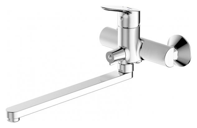Drop F64898C-L ХромСмесители<br>Смеситель для ванны Bravat Drop F64898C-L. Корпус латунный. Ручка цинковая. Керамический картридж Kerox 35 мм. Керамический переключатель. Аэратор Neoperl. Излив 300 мм. Поток воды: 15 л/мин при давлении 0.3 MPa.<br>