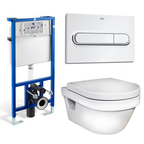 Hygienic Flush 5G84HR01 с инсталляцией Roca In-Wall 89009000K  с инсталляцией,  крышкой-сиденьем SoftClose и клавишей смыва хромУнитазы<br>Безободковый подвесной  унитаз Gustavsberg Hygienic Flush 5G84HR01 в комплекте с крышкой-сиденьем с механизмом  плавного закрывания  SoftClose,  инсталляцией для унитаза Roca In-Wall 89009000K с двойной клавиши смыва  Roca PL 1 89009500 цвета хром. Цвет унитаза белый.<br>