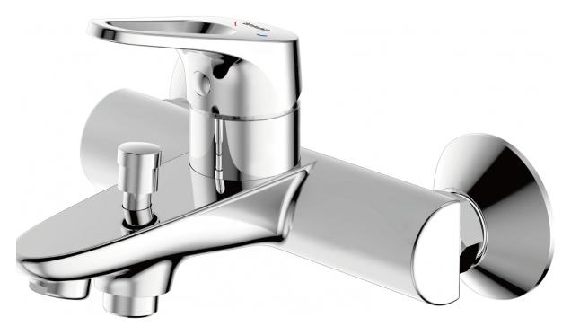 Drop-D F648162C-01 ХромСмесители<br>Смеситель для ванны Bravat Drop-D F648162C-01 с коротким изливом. Корпус латунный. Ручка цинковая. Керамический картридж Kerox 35 мм. Кнопочный переключатель. Аэратор Neoperl. Поток воды 20 л/мин при давлении 0.3 MPa.<br>