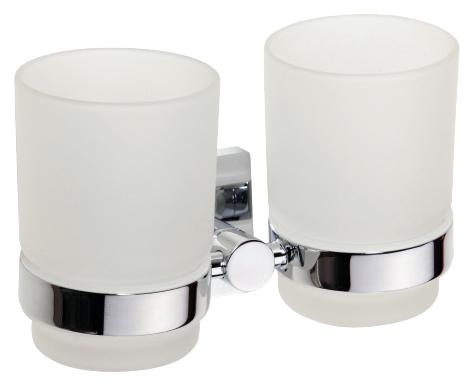 Beta 132110022 ХромАксессуары для ванной<br>Двойной стеклянный держатель Bemeta  Beta 132110022.  Подвесной монтаж. Цвет белый/хром.<br>