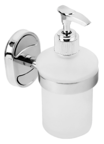 HB1927 хром/белыйАксессуары для ванной<br>Дозатор жидкого мыла Haiba HB1927 со съемным флаконом из белого матового стекла и держателем из хромированного металла. Цена указана за дозатор жидкого мыла и комплект креплений. Все остальное приобретается дополнительно.<br>