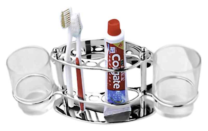 HB101 хром/прозрачное стеклоАксессуары для ванной<br>Настенный держатель зубных щеток и зубной пасты из хромированного металла с двумя стеклянными стаканами Haiba HB101. Цена указана за держатель зубных щеток и пасты, два стакана и комплект креплений. Все остальное приобретается дополнительно.<br>