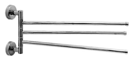 HB113 хромАксессуары для ванной<br>Тройной настенный держатель для полотенец Haiba HB113 поворотный, металлический. Ширина 500 мм. Цена указана за держатель для полотенец и комплект креплений. Все остальное приобретается дополнительно.<br>