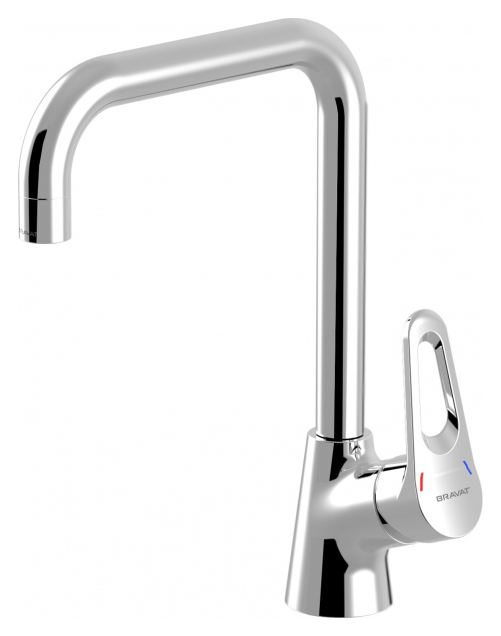 Eco-D F793158C ХромСмесители<br>Смеситель для кухни Bravat Eco-D F793158C. Корпус латунь. Ручка цинк. Керамический картридж Kerox 35 мм. Гибкая подводка 450 мм M10-G1/2 SS 2 шт. Аэратор Neoperl. Поток воды 8,3 л/мин при давлении 0.3 MPa.<br>