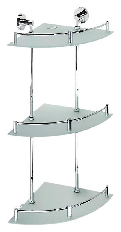Omega 104202152 ХромАксессуары для ванной<br>Полочка стеклянная тройная угловая  Bemeta Omega 104202152. Настенный монтаж. Цвет хром.<br>