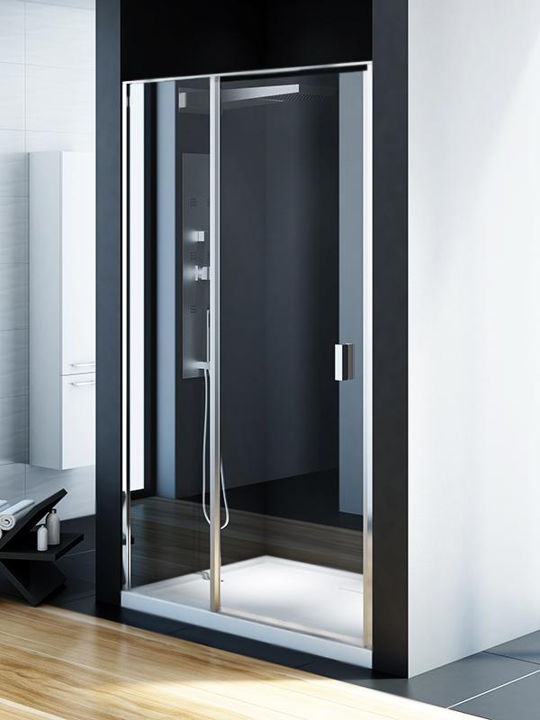 Perfecta Platinum 90 EXK-1168 Профиль хром, стекло прозрачноеДушевые ограждения<br>Душевая дверь в нишу Perfecta EXK-1168 прямоугольная пристенная, двери одинарные, распашные.<br>