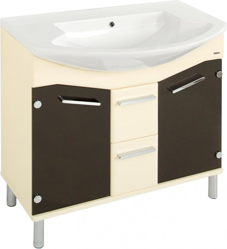 Logica 108 на ножках Коричневый (шоколадный)Мебель для ванной<br>В цену входит тумба на ножках Gemelli Logica укомплектованная раковиной Logic. Все комплектующие (зеркала, пеналы, полупеналы, полки) приобретаются отдельно.<br>