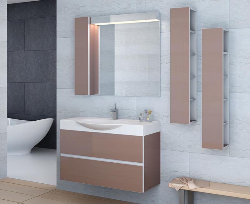 Quadro-2 85 ЧернаяМебель для ванной<br>Тумба подвесная Gemelli Quadro укомплектованная раковиной Swing. Все комплектующие приобретаются отдельно.<br>