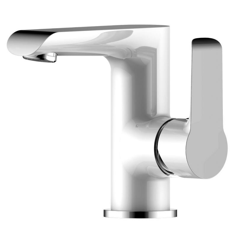 W35-11 Белый хромСмесители<br>Смеситель для раковины Rossinka W35-11 монолитный.  Пластиковый аэратор с изменяемым углом подачи воды, керамический картридж 35 мм, гибкая подводка 35 см - 2 шт, присоединительная группа для горизонтального крепления, металлическая рукоятка<br>