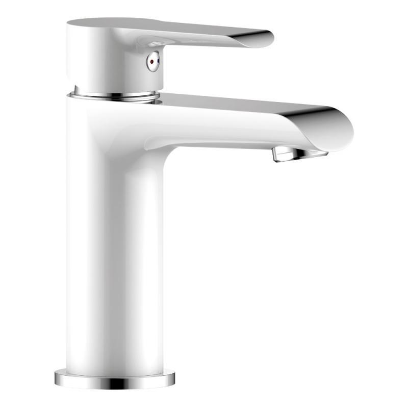 W35-12 Белый хромСмесители<br>Смеситель для раковины Rossinka W35-12 монолитный.  Пластиковый аэратор с изменяемым углом подачи воды, керамический картридж 35 мм, гибкая подводка 35 см - 2 шт, присоединительная группа для горизонтального крепления, металлическая рукоятка<br>