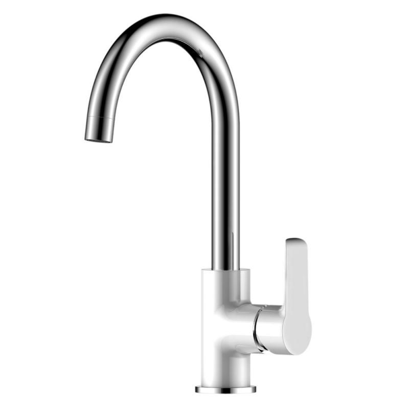 W35-24 Белый хромСмесители<br>Смеситель для кухни Rossinka W35-24 с поворотным изливом.  Пластиковый аэратор с изменяемым углом подачи воды, керамический картридж 35 мм, гибкая подводка 35 см - 2 шт., присоединительная группа для горизонтального крепления, металлическая рукоятка<br>