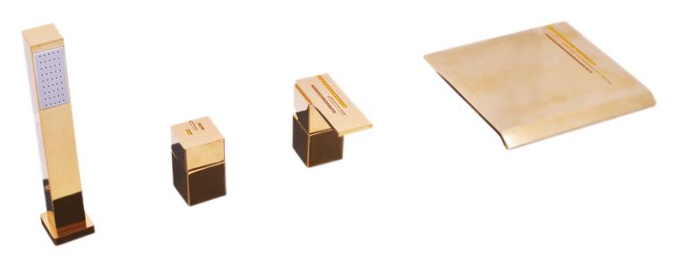 Royal1174.5PZ золотой, с ручкой 10Смесители<br>Смеситель на борт ванны Rav Slezak ROYAL1074.5PZ монолитный, на 4 отверстия, с душевым гарнитуром, изготовлен из высококачественной латуни, которая исключает какую-либо коррозию. Керамический переключатель душ/излив. Латунная рукоятка. Смеситель украшен хрустальными камнями от чешского производителя. Шланг с пружиной, которая обеспечивает его лёгкое возвращение в держатель. Длина шланга 2000 мм. В комплекте смеситель, шланг, душевая лейка и комплект крепления.<br>