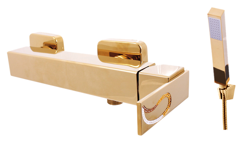 Royal1281.5/1Z золотой, с ручкой 11Смесители<br>Смеситель для душа Rav Slezak Royal1181.5/1Z. Однорычажный, с душевым гарнитуром, изготовлен из высококачественной латуни, которая исключает какую-либо коррозию. Смеситель украшен хрустальными камнями от чешского производителя. Латунная рукоятка. Качественный керамический картридж 35 мм Kerox, производство Венгрия, гарантирует долговечность и мягкий поток воды. В комплекте смеситель, шланг, душевая лейка, настенный держатель лейки и комплект крепления.<br>
